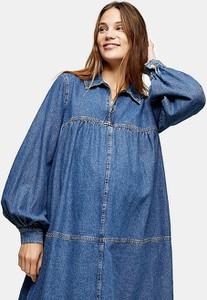 Topshop Maternity – Niebieska jeansowa sukienka w stylu babydoll-Niebieski