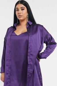 Fioletowa sukienka Missguided Plus szmizjerka z dekoltem w kształcie litery v