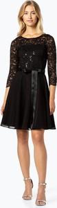 Czarna sukienka Swing z długim rękawem z okrągłym dekoltem mini