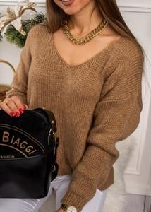Brązowy sweter Fason w stylu casual