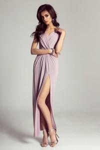Różowa sukienka Moda Dla Ciebie z dekoltem w kształcie litery v maxi