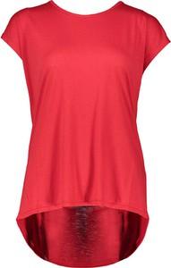 Czerwona bluzka Tigha z krótkim rękawem z okrągłym dekoltem w stylu casual