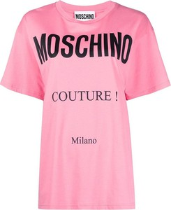 Różowy t-shirt Moschino w młodzieżowym stylu z krótkim rękawem z okrągłym dekoltem