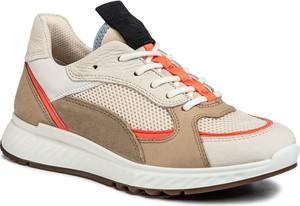 Buty sportowe Ecco z płaską podeszwą z nubuku sznurowane
