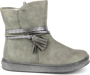 Brązowe buty dziecięce zimowe American Club dla dziewczynek na zamek