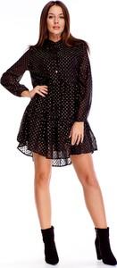 Sukienka Ptakmoda.com z długim rękawem z żabotem oversize