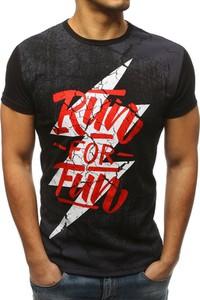 Czarny t-shirt Dstreet w młodzieżowym stylu z krótkim rękawem