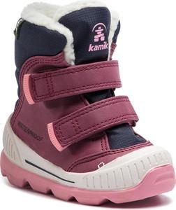 Fioletowe buty dziecięce zimowe Kamik na rzepy