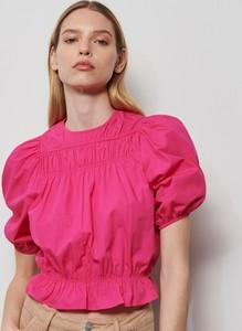 Różowa bluzka Reserved z dekoltem w kształcie litery v w stylu casual