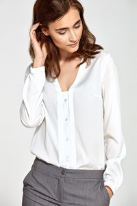 Bluzka Merg z dekoltem w kształcie litery v z długim rękawem
