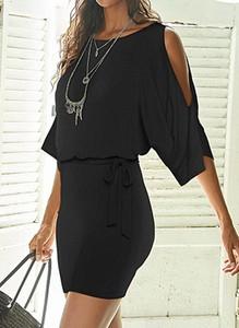 Czarna sukienka Cikelly mini z dekoltem w łódkę z długim rękawem