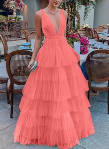 Różowa sukienka Sandbella bez rękawów maxi