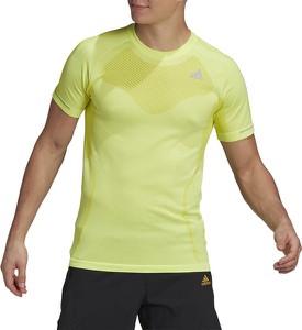 Żółty t-shirt Adidas z dzianiny w sportowym stylu z krótkim rękawem