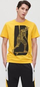 Żółty t-shirt Cropp z krótkim rękawem