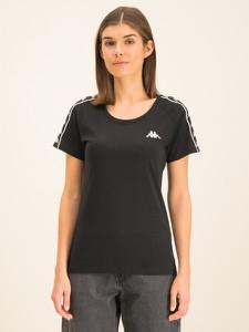 Czarny t-shirt Kappa z krótkim rękawem z okrągłym dekoltem