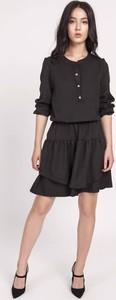 Czarna sukienka Lanti rozkloszowana w stylu casual mini