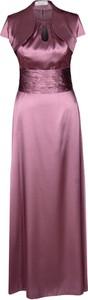 Fioletowa sukienka Fokus rozkloszowana maxi z krótkim rękawem