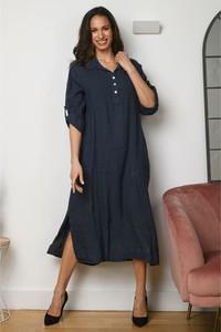 Sukienka La Compagnie Du Lin midi koszulowa z lnu