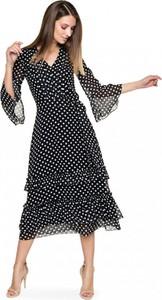 Sukienka L'AF z szyfonu z długim rękawem
