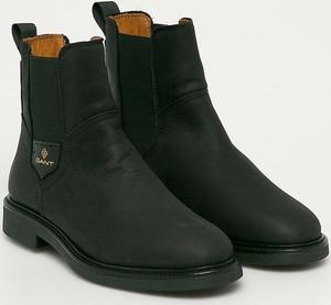 Czarne botki Gant ze skóry w stylu casual