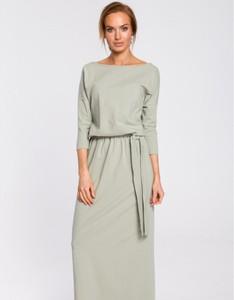 Zielona sukienka MOE z bawełny maxi