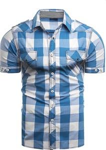Niebieska koszula Risardi w stylu casual z klasycznym kołnierzykiem z krótkim rękawem