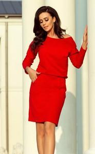 Czerwona sukienka NUMOCO z długim rękawem z dresówki