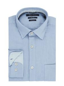 Niebieska koszula Marc O'Polo z lnu z długim rękawem