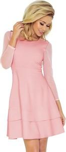 Różowa sukienka NUMOCO rozkloszowana z długim rękawem w młodzieżowym stylu