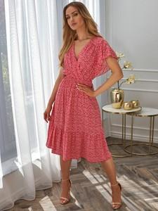Czerwona sukienka POTIS & VERSO z dekoltem w kształcie litery v z tkaniny