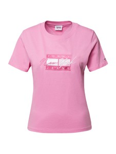 Różowy t-shirt Tommy Jeans z krótkim rękawem z okrągłym dekoltem