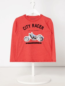 Czerwona koszulka dziecięca Review For Kids z długim rękawem z bawełny