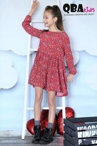 Czerwona sukienka dziewczęca Qba Kids z jeansu