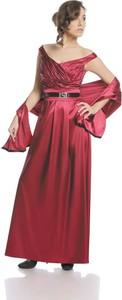 Czerwona sukienka Fokus w stylu glamour z dekoltem w kształcie litery v rozkloszowana