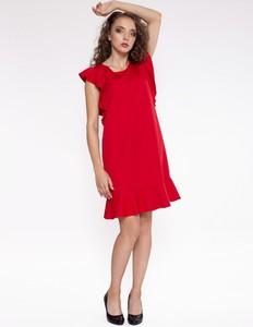 Czerwona sukienka 4myself mini z okrągłym dekoltem