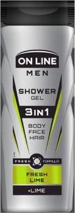 On Line, Men, żel pod prysznic 3in1, Fresh Lime, dla mężczyzn, 400 ml