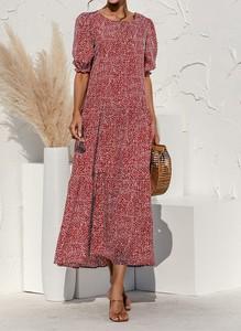 Sukienka Sandbella z krótkim rękawem z okrągłym dekoltem