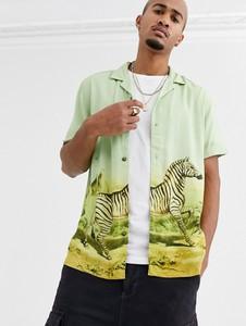 Zielona koszula Asos Design z nadrukiem z klasycznym kołnierzykiem