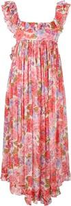 Różowa sukienka Zimmermann na ramiączkach z dekoltem w kształcie litery v