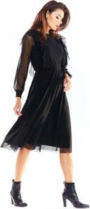 Czarna sukienka Awama z okrągłym dekoltem midi z tiulu