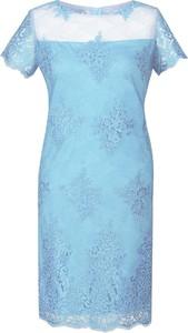 Niebieska sukienka Fokus midi z okrągłym dekoltem z krótkim rękawem