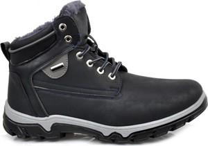 Granatowe buty trekkingowe Pantofelek24 w sportowym stylu z nubuku sznurowane