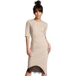9679b62bd3 Beżowe sukienki koronkowe z krótkim rękawem