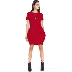 6e3d4fcae0 Czerwone sukienki dzianinowe z krótkim rękawem Makadamia